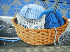 Cat in a Basket (cessna152towser) Tags: cat mural streetart glasgow