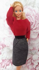 Barbie Twice As Nice Reversible Fashion #7950 from 1984 (VintageZealot) Tags: barbie mattel dotw dolls of the world canadian 1987 4928 80s 1980s twice as nice reversible fashion 1984 7950 vintage retro doll clothing clothes outfit model modelling superstar super star blonde white caucasian china velcro metal snaps blouse shirt sweater top red poofy sleeves belt fanny pack satchel purse black silver polka dots jewelry pearl ring pumps skirt herringbone grey pleather vinyl faux leather