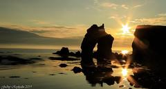 Gatanöf (gudnyreykjalin) Tags: gatanöf iceland northiceland rock sun sunset sunburst night outdoor reflection