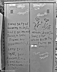 Telephone Utility Box Message  - Ottawa  07 19 (Mikey G Ottawa) Tags: mikeygottawa canada ontario ottawa street city graffiti text message story lament bw guilty harm he she right wrong love jail pain tears crime safe threat a m brokenheart