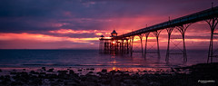 Sunset at Clevedon's Pier (Luis Sousa Lobo) Tags: img82423 clevedon uk great britain coast pier canon 70d beach clouds 2470