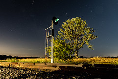 Interstellar Searchlight (dauve_787) Tags: astrophotography stars deepsky tree signals searchlights night nightphotography railroad green countryside