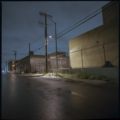 Rain-wet pavement (ADMurr) Tags: la eastside industrial night anderson hasselblad dba318 50mm distagon zeiss kodak ektar mf square fullframe