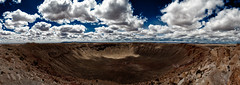 panorama. meteor crater, az. 2007. (eyetwist) Tags: eyetwistkevinballuff eyetwist arizona landscape meteorcrater route66 pano panorama interstate i40 nikond80 nikon d80 nikkor 18200mmf3556gvr 18200mm roadside america usa road route 66 processed photoshop postprocessed postprocessing filter alienskin exposure nikcolorefex clouds cloudporn motherroad us66 historic desert landmark stitched wide meteor crater rock space rocks deep impact dinosaurs flat
