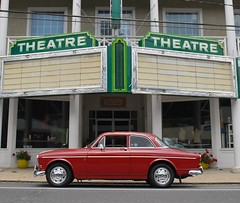'67 Volvo at the Colonial Theatre (63vwdriver) Tags: 1967 volvo amazon 122 122s colonial theater vintage neon sign canaan ct connecticut railroad street theatre