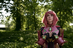 az2019-3943 (skippyclese) Tags: animaement 2019 con cosplay convention anime japan games cosplayer twiliheart armour armor gems tight pink nc north carolina raleigh nikon 810 sigma art 50mm day daylight sun sunshine outside outdoors fullbody portrait leaves foliage speckled animazement