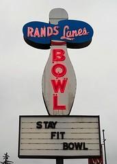 WI, Rice Lake-U.S. 53(Old) Rands Lanes Neon Sign