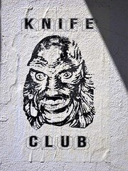Knife Club (knightbefore_99) Tags: vancouver bc canada cool awesome art nice best message street poster knife club creature bw black white mystery