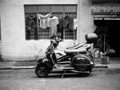 Wanchai Scooter Repairs (RunnyInHongKong) Tags: mamiyasekor80mmf19wanchai vuescan positive ilfordpanf50 6x6 hongkong blackwhite opticfilm120 mediumformat mamiya645protl film 6x45