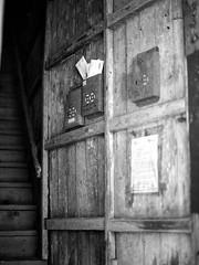 Blue House Mailboxes (RunnyInHongKong) Tags: mamiyasekor80mmf19wanchai vuescan positive ilfordpanf50 6x6 hongkong blackwhite opticfilm120 mediumformat mamiya645protl film 6x45