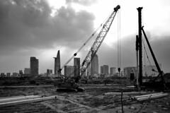. (Out to Lunch) Tags: thu thiem district 2 saigon ho chi minh city vietnam urban development urbanite piles construction sky blackwhite monochrome fuji xt1 50mm happyplanet asiafavorites