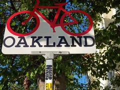 Oakland Bike Sign (danieljsf) Tags: oakland sign california bike bicycle red