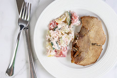 Flat lay above Baked Pork Chop with Serbian Sopska Salad (wuestenigel) Tags: fillet oil dish portion dinner red salad onion vegetarian cooked meal feta cheese baked vegetable steak bowl closeup cutlet fried appetizer grilled plate healthy cucumber tasty fresh meat food barbecue pork chop cuisine olive lunch tomato roasted beef roast delicious serbian