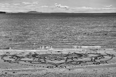 Will what we create last? (James_D_Images) Tags: beach sand tide incomingtide waves sea ocean pacific semiahmoobay whiterock islands birds ephemeralart