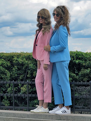 Sisters from Texas in pastel-colored clothes (pivapao's citylife flavors) Tags: paris france trocadero girl