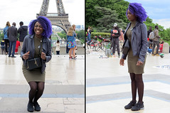 Black girl before and after a jump (pivapao's citylife flavors) Tags: paris france trocadero girl architecture