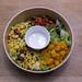 Vegane Bio Vital-Bowl: Asiatische Hirse-Bowl mit Teriyaki-Tofu, Butternutsalat mit Datteln und Kokos-Limettendressing
