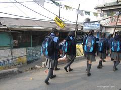 School children walking to school - Darjeeling West Bengal India (WanderingPJB) Tags: india flickruploaded accumulation westbengal darjeeling himalayas foothills