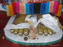 Money donated at the feet of the Maitreya Statue at the Yiga Choeling Monastery - Ghoom Darjeeling West Bengal India (WanderingPJB) Tags: india flickruploaded accumulation westbengal ghoom buddhism himalayas foothills statue money donated yigachoelingmonastery