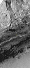 Curiosity in Gale Crater, July 2019, variant (sjrankin) Tags: 14july2019 edited grayscale nasa mars mro marsreconnaissanceorbiter mountsharp galecrater sanddunes mountains curiosity msl rover red redchannel huge 9066mb annotated