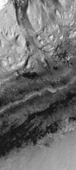 Curiosity in Gale Crater, July 2019, variant (sjrankin) Tags: 14july2019 edited grayscale nasa mars mro marsreconnaissanceorbiter mountsharp galecrater sanddunes mountains curiosity msl rover red redchannel huge 9064mb