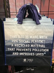 Photo of M&S bag for life made with 75% social plastic.
