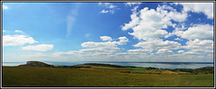 Tennyson Down panorama (coldnebraskablue) Tags: tennysontrail isleofwight coast panorama views needles hurstcastle summer fields clouds sky nikond7100 hurstpoint walk trail cliffs sea totlandbay green freshwater solent mainland 1855 kitlens headland freshwaterbay