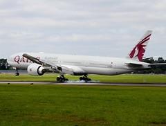 Qatar Airways                                 Boeing 777                                  A7-BEQ (Flame1958) Tags: qatarairways qatarairwaysb777 qatarairwaysdiversion qr707 qtr707 boeing777 boeing b777 777 arrival landing vacation holiday aircraft aeroplane a7beq 130719 0719 2019 dub eidw burningrubber dublinairport smoke smoking tyresmoke tyre tyres 4820