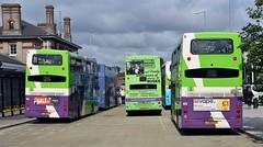 YJ60 KGX, PJ54 YZT & YJ60 KGY, Ipswich Buses Scanias 68,60 & 69, Ipswich Station, 14th. July 2019. (Crewcastrian) Tags: ipswich buses ipswichbuses transport ipswichrailwaystation railreplacement scania optare olympus eastlancs omnidekker yj60kgx 68 pj54yzt 60 yj60kgy 69