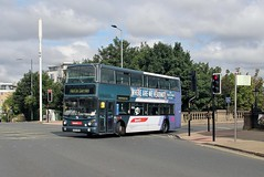 AU53 HKH, First Eastern Counties Volvo 32490, arriving at Ipswich Station to take up rail replacement work, 14th. July 2019. (Crewcastrian) Tags: ipswich buses transport ipswichrailwaystation first easterncounties ipswichreds volvo transbus au53hkh 32490