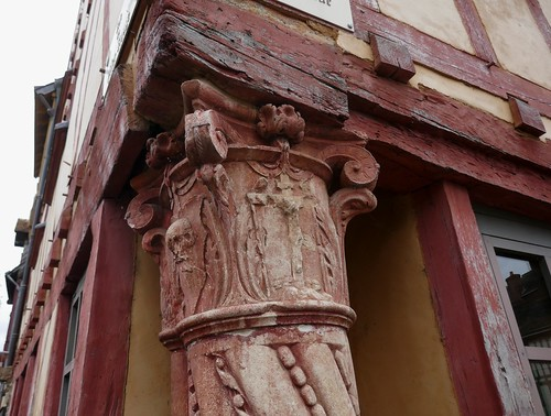 La Maison du Pilier rouge (XVIe), cité Plantagenêt, Le Mans, Sarthe, Pays de la Loire, France.