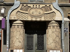 Art nouveau building on Terbatas Street in central Riga, Latvia. July 14, 2019 (Aris Jansons) Tags: jugendstil artnouveau nationalromanticism doorway entrance portal house building architecture terbatasstreet city capital riga latvia baltic europe doors outdoors