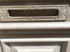 Old mailbox in central Riga, Latvia. July 14, 2019 (Aris Jansons) Tags: mailbox house building riga latvia baltic europe lettering doors