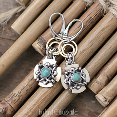 Silver & Turquoise (Taniri) Tags: jewellery sterlingsilver brass turquoise earrings