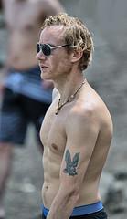 Cool Shades (Scott 97006) Tags: man guy shirtless tattoo sunglasses blonde beach