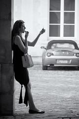 Every Little Thing She Does Is Magic (sdupimages) Tags: streetportrait noirblanc noiretblanc blackwhite portrait feminine femme woman girl street rue bw nb monochrome