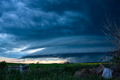Supercell Prairie Storm Saskatchewan (darletts56) Tags: sky blue cloud clouds supercell rain storm tree trees field fields swirling blowing winds wind saskatchewan canada sunset dusk evening night silhouette country white orange yellow