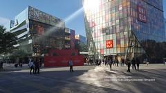Beijing, Sanlitun (blauepics) Tags: china beijing peking city stadt architecture architektur design stylish houses häuser gebäude buildings modern glas sanlitun reflection spiegelung light licht shopping mall einkaufsmeile fashion mode art kunst