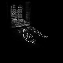 Nasride Palace - Moorish Light Pattern (thomaswoyke) Tags: andalusien alhambra blackwhite bw granada window light pattern abstract