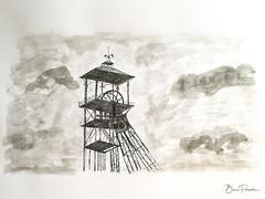 Chevalement (bpmm) Tags: loosengohelle pasdecalais art artgraphique bassinminier chevalement dessin encredechine feutre lavis mine