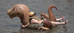 Dinosaur Float (Scott 97006) Tags: river water man guy inflatable dinosaur relaxing floating