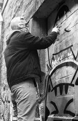 Graffiti Artist (Barry Carr) Tags: fomapanaction400 blackandwhite street mono streetmonochrome film kodakxtol fomapan tayside analogue nikon scotland monochrome streetmono xtol streetphotography analogphotography streetphoto nikkor50mmf18 bw nikonfa analog dundee