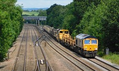 """66710 """"Phil Packer"""" - Clay Cross, Derbyshire (The Walsall Spotter) Tags: claycross north junction class66 diesel locomotive 66710 philpacker namedlocomotive uk freight scunthorpe eastleigh gbrf engineerstrain networkrail britishrailways"""