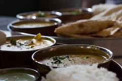 Delicious Indian Food (183/365) (lacygentlywaftingcurtains) Tags: 365 indianfood vegetarian foodphotography naan daal curry rice bowlsrestaurant eatingout rangoli