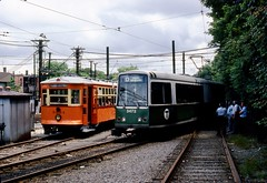BERy Type 5 5735 & MBTA LRV 3473 Reservior (ironmike9) Tags: track rail lightrail trolley streetcar tram bostonelevatedrwy bery mbta transit publictransit boeingvertollrv lrv lightrailvehicle reservior brooklinema type5