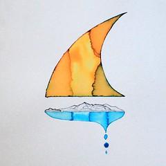 Sail on Arran. OpenEar. Ed Walker (openear1) Tags: arran saltcoats pen brush ink pelikan montblanc