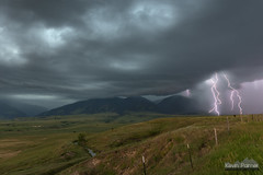5 Strikes (kevin-palmer) Tags: beckton wyoming summer july bighornmountains green hills overlook storm stormy thunderstorm weather clouds rain sky tamron2470mmf28 electric lightning bolts strikes composite fence nikond750 sheridan