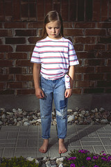 Grumpy Girl (Andrew d'Entremont) Tags: girl camera feet shirt night for day bare off jeans blond barefoot blonde speedlight striped tomboy grumpy