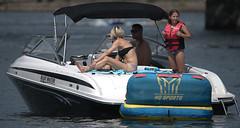 Fun In The Sun (Scott 97006) Tags: boat water river sunshine family woman blonde girl anchored