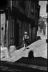 Shadow street (MartPics1968) Tags: leicam42 summicron50mmf2 blackwhite film orbec normandie france streetphotography street oldbuilding halftimberedbuilding 35mmfilmcamera 35mmfilm 35mm rangefinder bwyellowfilter kodaktrix400 ilfordid11developer epsonv550photoscanner